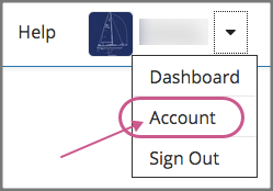 The dropdown menu next to the user name, with the Account option highlighted.