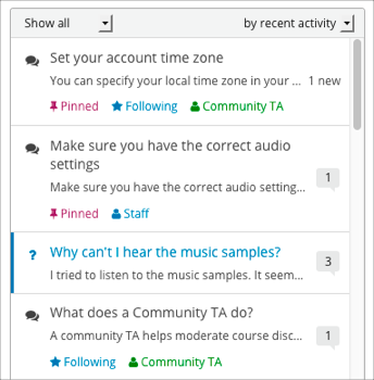 The discussion navigatin pane, showing examples of post indicators such as question and discussion type, read or unread posts, pinned or followed posts, post by Staff and Community TA, and posts with new responses or comments.