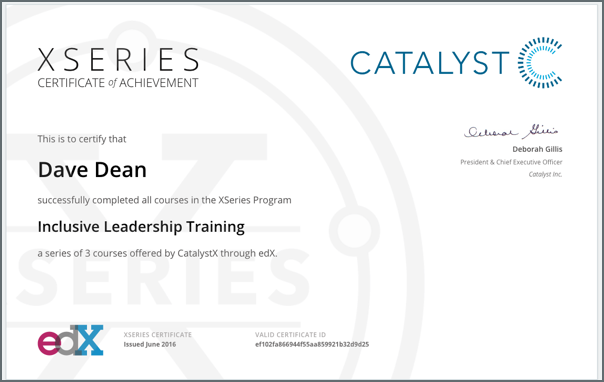 An XSeries certificate, showing the name of the learner and institution, as well as the institution's logo.