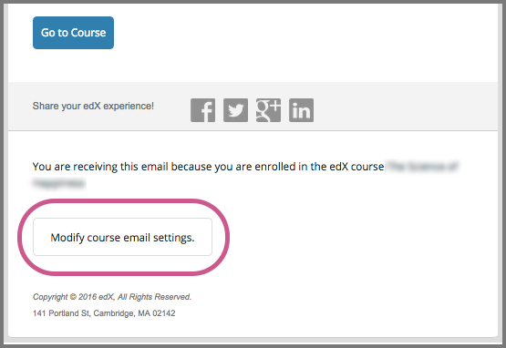 The end of an email message from an edX course team with the Modify course email settings button indicated.